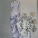 Flors blanques - Oli sobre tauler
