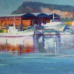 Barques al port de Barcelona Óleo sobre tablero