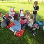 Gesundes Picknick im Schatten der Äpfelbäume