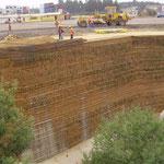 Mur gabion planté avec natte Gabionmat