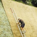 Protection d'un talus raide en natte coco renforcée par un grillage ROCKMAT - Installation
