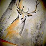Cartolina con cervo: mano libera, tecnica mista