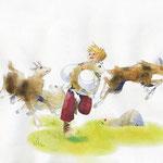 Le petit berger et ses chèvres.