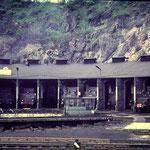 Betzdorf 1968: Lokschuppen mit 50 1474, 44 668, 44 1262, 44 1596 und 3 weiteren 44ern (Aufnahme: Dr. Richard Vogel, Berlin)