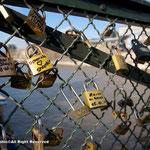 橋のアミに取り付けられた鍵の群れ