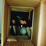 Bodybox, 1999, inside view with performer