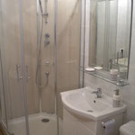 La salle de douche, lavabo, wc, lave linge