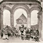 Im Hof von Schloss Stein, Baden (Auf dem Tisch P. Halter als Narren)