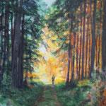 Herbstspaziergang, 30 x 40 cm, Acryl auf Leinwand, 2016