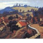 """""""Vue sur Chambon du Puy"""" -1960 - aquarelle (47x31)"""