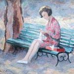 """Femme à sa couture"" -huile"