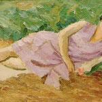 """""""Femme à la robe parme"""" -huile"""
