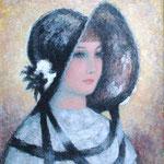 """Femme au chapeau"" -huile"