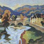 """""""Le Vieux Pont de Chambon """" - 1943 - aquarelle (42x31)"""