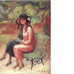 """""""Jeunes femmes dans un jardin"""" - 1925 - huile (45x37)"""