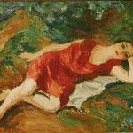 """Femme en rouge"" -huile"