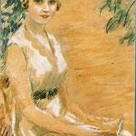 """""""Femme à la robe blanche"""" -aquarelle"""