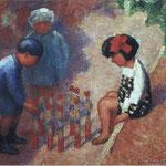 """""""Les enfants jouant aux quilles"""" - 1932 - huile (65x54)"""