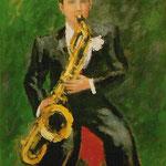 """Le saxophoniste"" - huile"