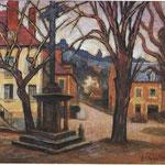 """""""La Fontaine aux chèvres"""" - 1945 - huile (41x32,5)"""