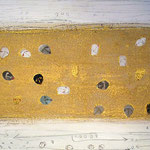 The BHT - , acrylic, marble, resin, gold on canvas, 40 x 140 cm