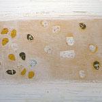 The BHT - , acrylic, marble, resin, gold on canvas, 10 x 140 cm