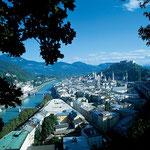 Salzach, Altstadt Salzburg und Festung Hohensalzburg