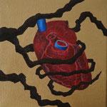 """Fruto Vermelho I"" - Acrílico s/ tela - 16x 16 cm - 2013"