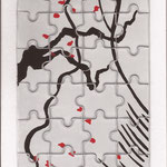 The tea flower -Silk-screen on puzzle - 10 x 15 cm - 2012