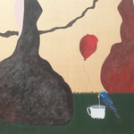 """O canto das cinco"" - Acrílico s/ tela - 60 x 150 cm - 2015"