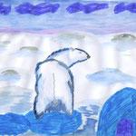 """Ехимкин Артем .9 лет. Рисунок """"Человек, я тебя не боюсь!"""""""