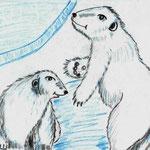 """Шикняева Валерия , 10 лет . Рисунок """" Трутся об ось медведи - вертится Земля!"""""""