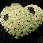 Herz nur mit weißen Rosen ca. 250,00 - 350,00 Euro