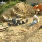 préparation de l'atelier terre