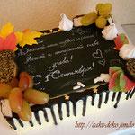 торт с шоколадными листочками и доской из мастики. 2кг.