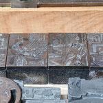 Die traditionellen Bilder Gutenberg, Schriftsetzer, Drucker und Korrektor