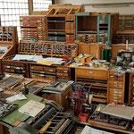 Eine Druckerei auf Paletten