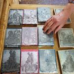 die einzelnen Farbplatten des Kartenmotives