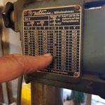 Eine Umrechnungstabelle am Kuhlmann-Pantographen
