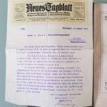 Das Anschreiben von 1913