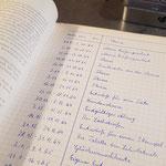 Handgeschriebene Tagesberichte