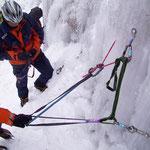 Seiltechnik im Eis