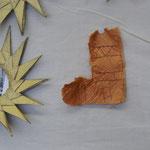 Stiefel, von einem Kind für die Adventwand gemacht