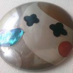 compact mirror of white mother of pearl shell and silver work