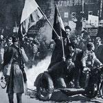 Narod na ulicama Beograda pozdravlja puč - 1941. godine