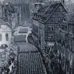 """Skoro beskonačna kolona od 120 tisuća """"njemačkih ratnika"""", na dan proslave dana partije velike Njemačke u Nürbergu 1938. godine"""