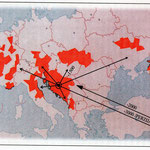 Karta Europe gdje je pretežno rasprostranjen soj Hrvata Dinaridaca čiji je panj u Hrvatskoj