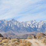 Granitgipfel der Sierra Nevada vom Owens Valley aus, Owens Valley Ca