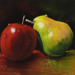 """""Pear loves apple"" Pastell, 23,5x23,5, (c)D.Saul 2014"