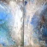 2017 (Diptychon) Blue Power Acryl-Strukturpaste auf Leinwand 120x180 cm